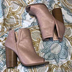 Qupid Light Pink Open-toe Booties
